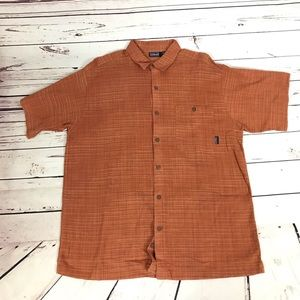 PATAGONIA Short Sleeve Rust Button Up Large